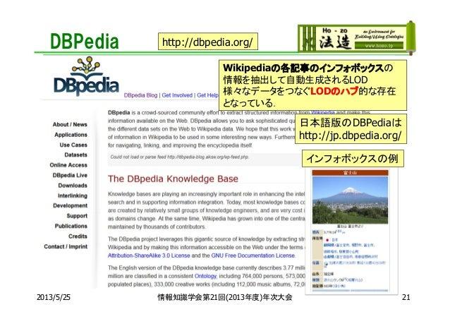 DBPedia2013/5/25 情報知識学会第21回(2013年度)年次大会Wikipediaの各記事のインフォボックスの情報を抽出して自動生成されるLOD様々なデータをつなぐLODのハブ的な存在となっている.http://dbpedia.o...
