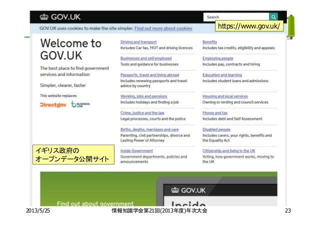 2013/5/25 情報知識学会第21回(2013年度)年次大会https://www.gov.uk/イギリス政府のオープンデータ公開サイト23