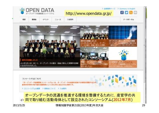 2013/5/25 情報知識学会第21回(2013年度)年次大会http://www.opendata.gr.jp/オープンデータの流通を推進する環境を整備するために,産官学の共同で取り組む活動母体として設立されたコンソーシアム(2012年7月...