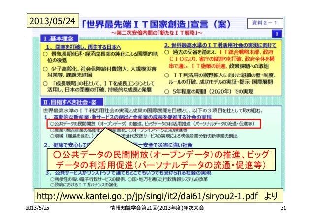 2013/5/25 情報知識学会第21回(2013年度)年次大会 31http://www.kantei.go.jp/jp/singi/it2/dai61/siryou2-1.pdf より○公共データの民間開放(オープンデータ)の推進、ビッグデ...
