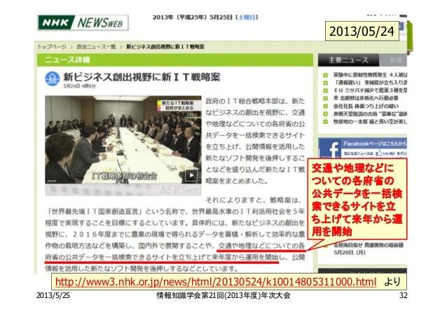 2013/5/25 情報知識学会第21回(2013年度)年次大会 32http://www3.nhk.or.jp/news/html/20130524/k10014805311000.html より2013/05/24交通や地理などについての各...