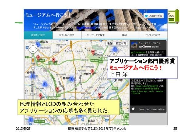 2013/5/25 情報知識学会第21回(2013年度)年次大会アプリケーション部門優秀賞ミュージアムへ行こう!上田 洋35地理情報とLODの組み合わせたアプリケーションの応募も多く見られた.