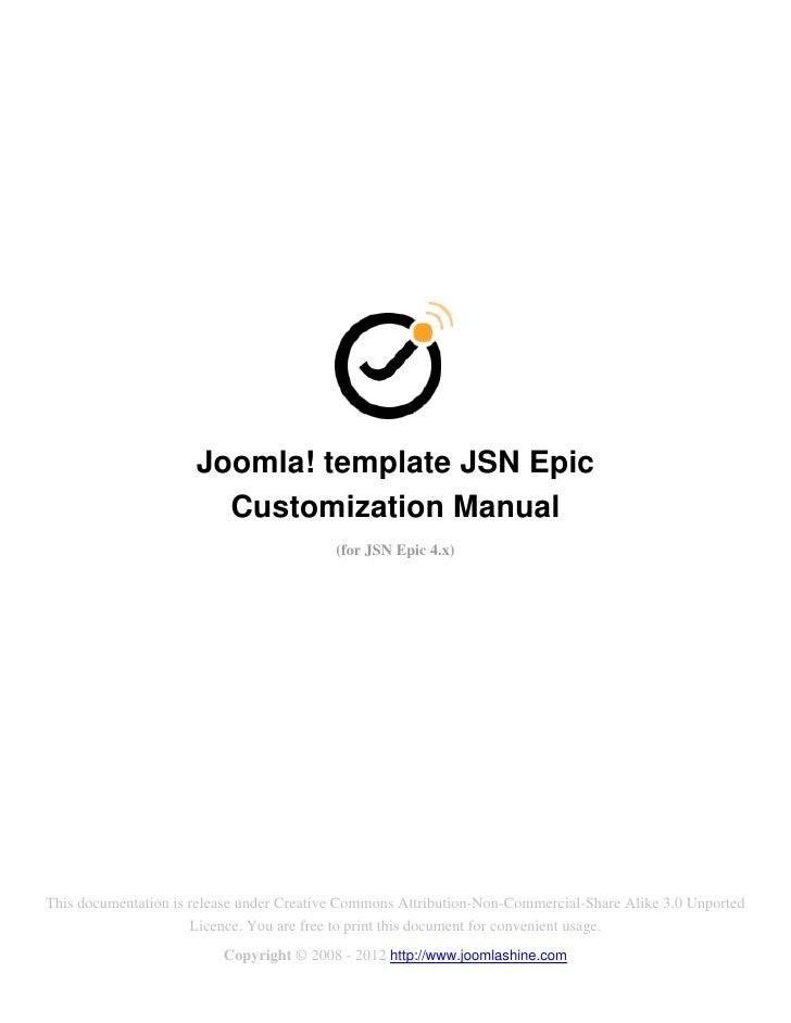 Joomla! template JSN Epic                        Customization Manual                                           (for JSN E...