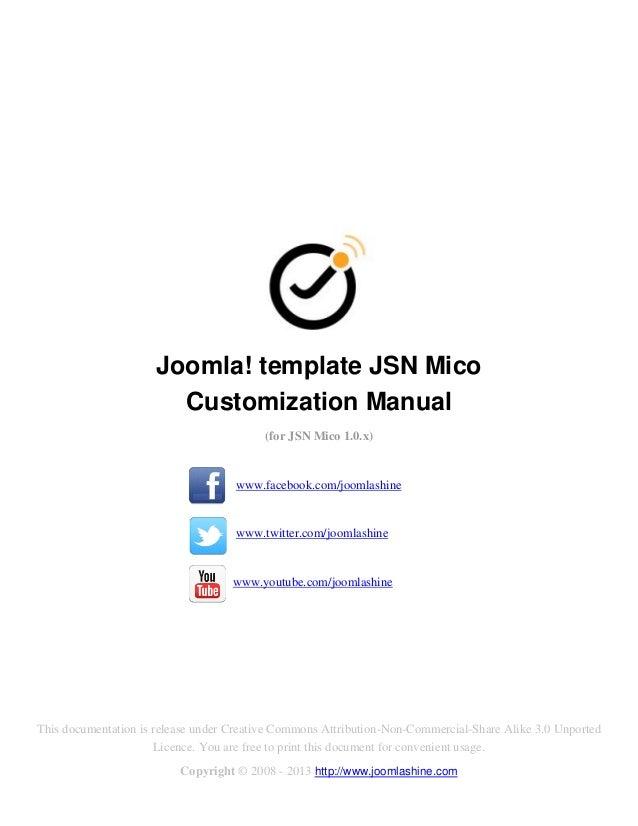 Joomla! template JSN Mico                       Customization Manual                                          (for JSN Mic...