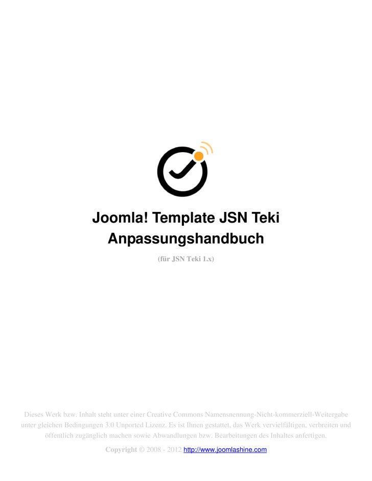 Joomla! Template JSN Teki                          Anpassungshandbuch                                              (für JS...