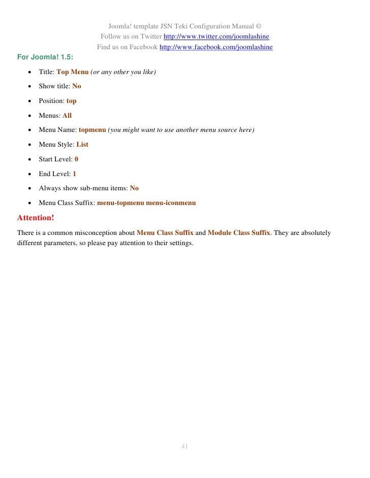 JSN Teki Configuration Manual