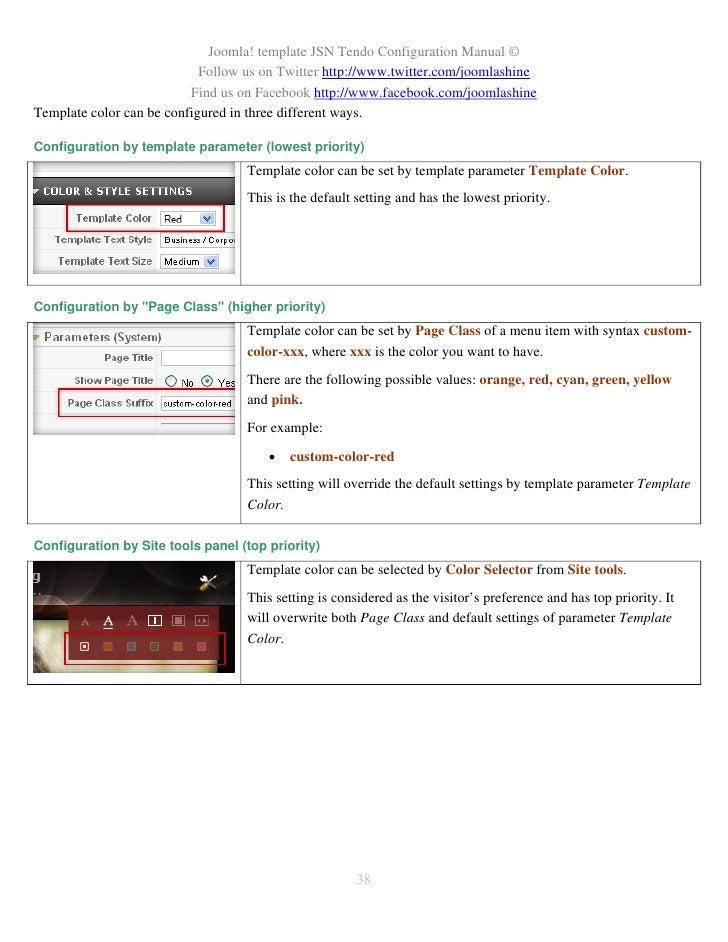 JSN Tendo Configuration Manual