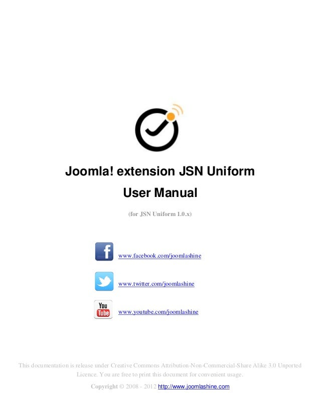 Joomla! extension JSN Uniform                                      User Manual                                        (for...