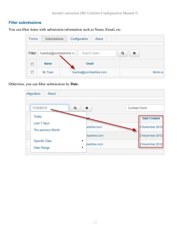 JSN UniForm Configuration Manual
