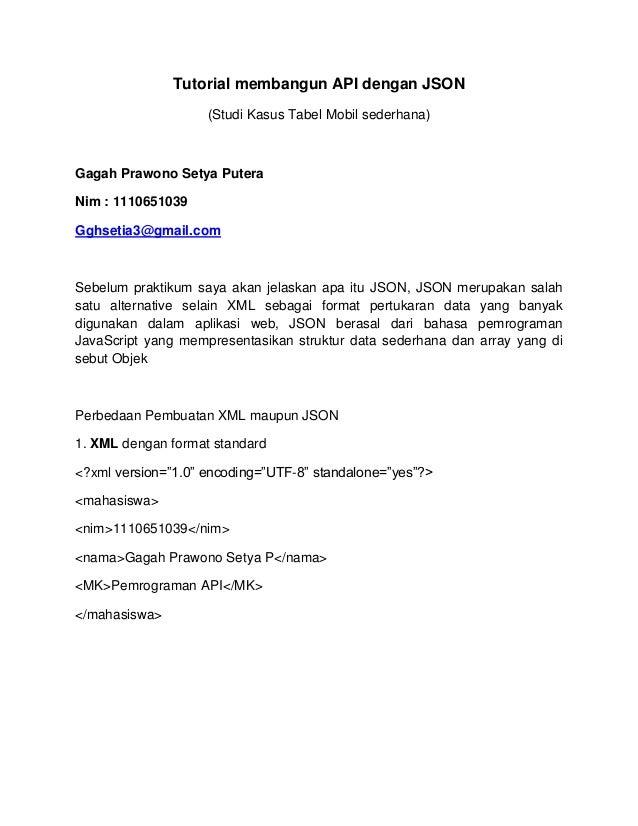 Tutorial membangun API dengan JSON (Studi Kasus Tabel Mobil sederhana) Gagah Prawono Setya Putera Nim : 1110651039 Gghseti...