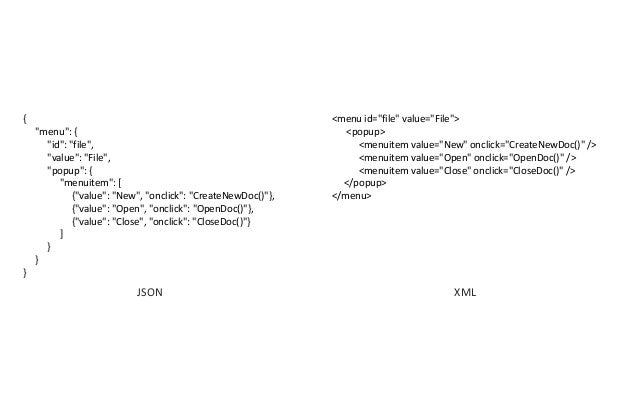 "JSON <menu id=""file"" value=""File""> <popup> <menuitem value=""New"" onclick=""CreateNewDoc()"" /> <menuitem value=""Open"" onclic..."