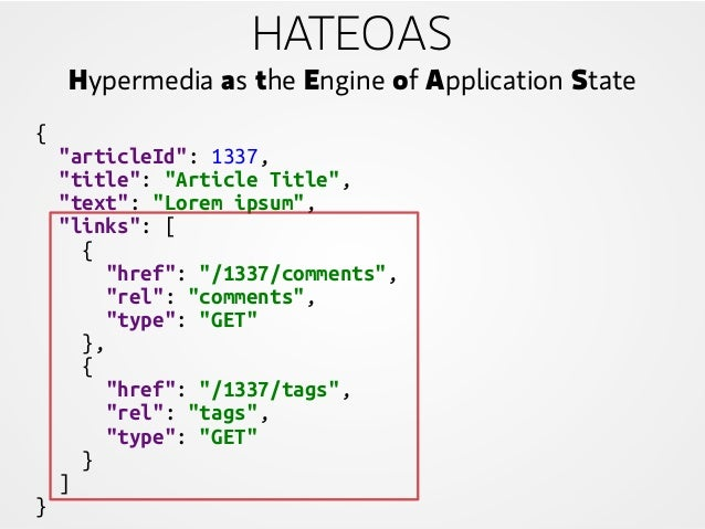 """HATEOAS Hypermedia as the Engine of Application State { """"articleId"""": 1337, """"title"""": """"Article Title"""", """"text"""": """"Lorem ipsum""""..."""