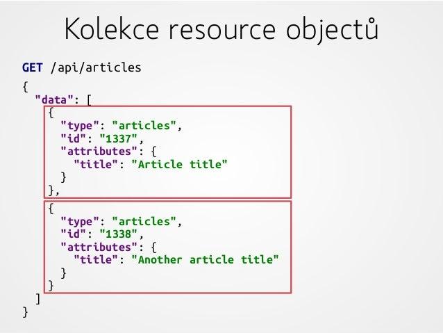 "Kolekce resource objectů GET /api/articles { ""data"": [ { ""type"": ""articles"", ""id"": ""1337"", ""attributes"": { ""title"": ""Artic..."