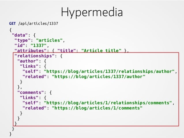 """Hypermedia GET /api/articles/1337 { """"data"""": { """"type"""": """"articles"""", """"id"""": """"1337"""", """"attributes"""": { """"title"""": """"Article title"""" }..."""