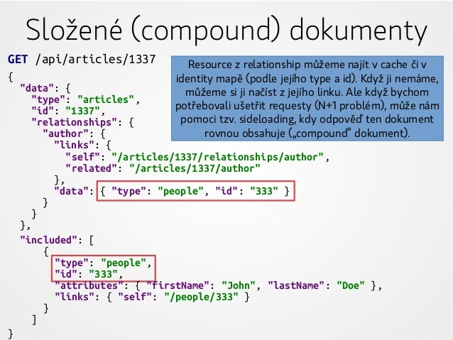 """Složené (compound) dokumenty GET /api/articles/1337 { """"data"""": { """"type"""": """"articles"""", """"id"""": """"1337"""", """"relationships"""": { """"auth..."""