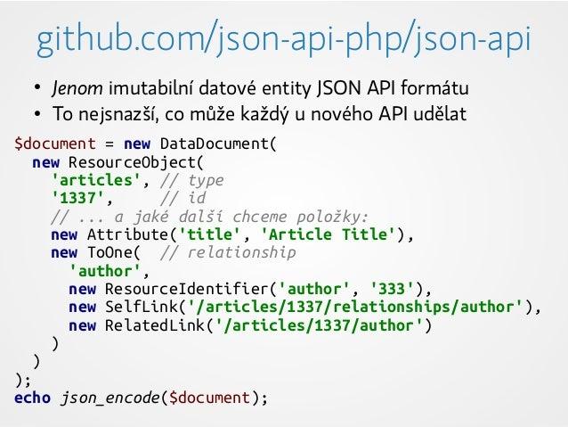 github.com/json-api-php/json-api $document = new DataDocument( new ResourceObject( 'articles', // type '1337', // id // .....