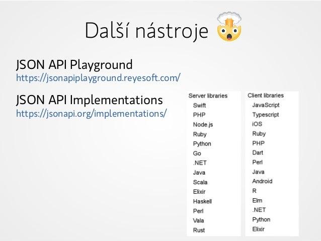 JSON API Playground https://jsonapiplayground.reyesoft.com/ JSON API Implementations https://jsonapi.org/implementations/ ...