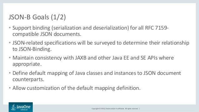 Copyright © 2016, Oracle and/or its affiliates. All rights reserved.   JSON-B Goals (1/2) • Support binding (serialization...