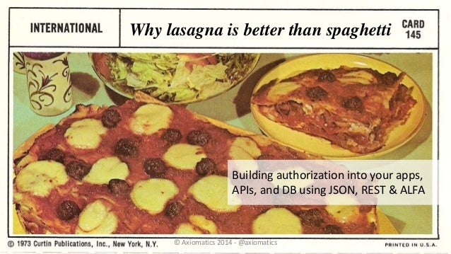Why lasagna is better than spaghetti Building authorization into your apps, APIs, and DB using JSON, REST & ALFA © Axiomat...