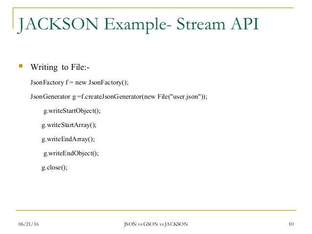 Jackson Streaming API to read and write JSON