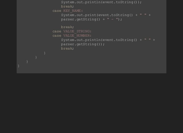 System.out.println(event.toString()); break; caseKEY_NAME: ...