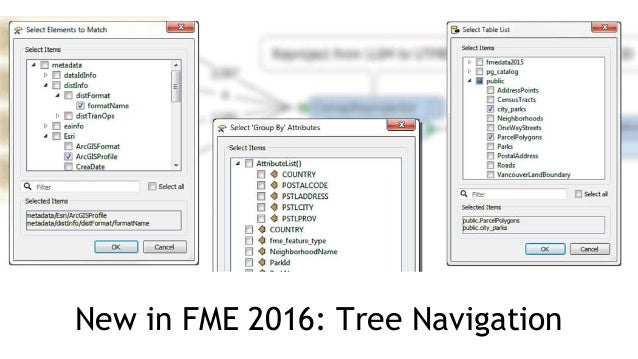 new in fme 2016 tree navigation
