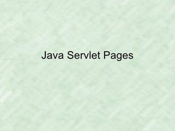 Java Servlet Pages