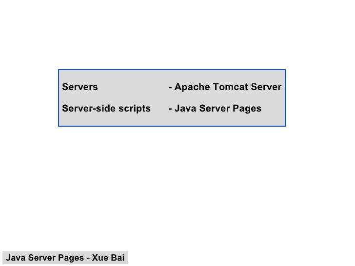 Servers - Apache Tomcat Server Server-side scripts - Java Server Pages Java Server Pages - Xue Bai