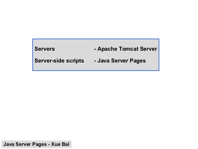 Servers               - Apache Tomcat Server            Server-side scripts   - Java Server PagesJava Server Pages - Xue Bai
