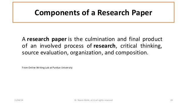 components of research paper The methods section of a research paper provides the information by which a study's validity is judged therefore, it requires a clear and precise description of.