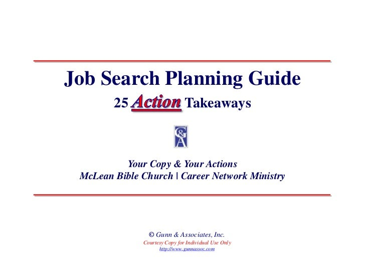 Job Search Planning Guide        25                     Takeaways          Your Copy & Your Actions McLean Bible Church | ...
