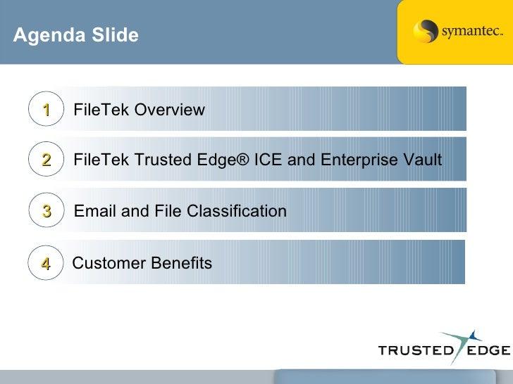 Agenda Slide Email and File Classification 3 Customer Benefits 4 FileTek Overview 1 FileTek Trusted Edge® ICE and Enterpri...