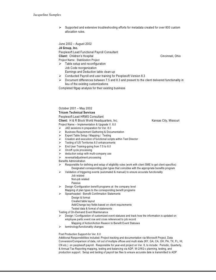 peoplesoft functional resume resume ideas