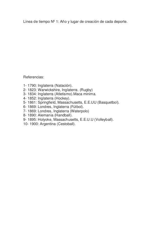 Línea de tiempo Nº 1: Año y lugar de creación de cada deporte. Referencias: 1- 1790: Inglaterra (Natación). 2- 1823: Warwi...