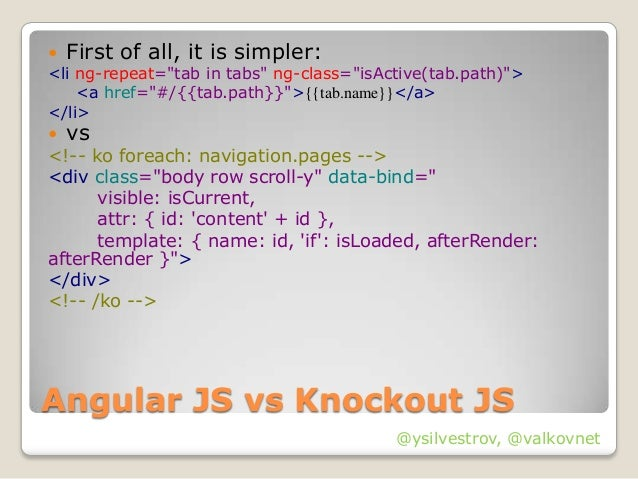 Js fast prototyping with angularjs requirejs for Knockout template foreach