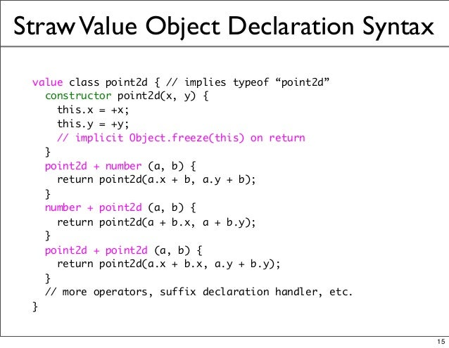 """StrawValue Object Declaration Syntax value class point2d { // implies typeof """"point2d"""" constructor point2d(x, y) { this.x ..."""