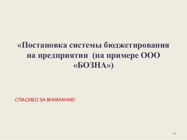 дипломная презентация по постановке системы бюджетирования на предпри  14