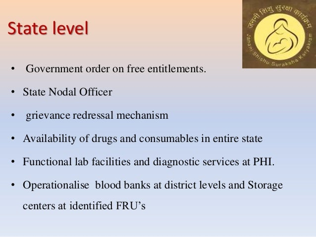 State level • Government order on free entitlements. • State Nodal Officer • grievance redressal mechanism • Availability ...