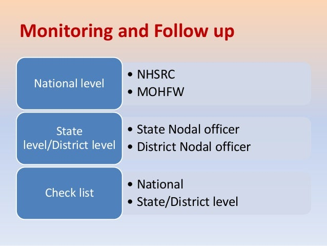 Monitoring and Follow up • NHSRC • MOHFW National level • State Nodal officer • District Nodal officer State level/Distric...