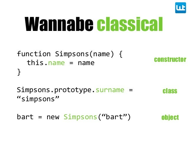 "Wannabe classical function  Simpsons(name)  { this.name  =  name } Simpsons.prototype.surname  =   ""simpsons"" bart  =  new..."