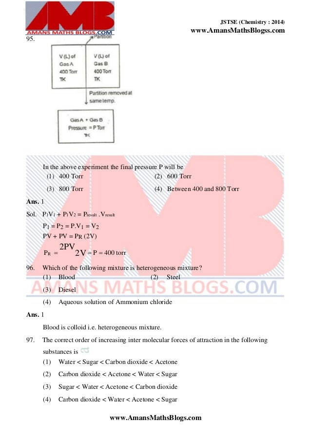 2014_JSTSE Chemistry Previous Year Question Collection