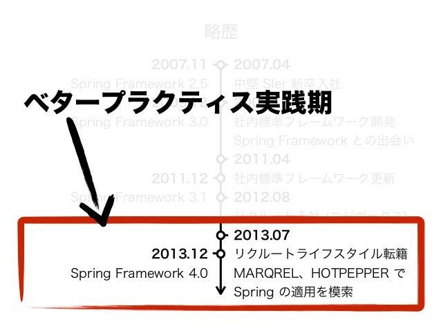 2007.04 中堅 SIer 新卒入社 2009.12 社内標準フレームワーク開発 Spring Framework との出会い 2011.04 社内標準フレームワーク更新 2012.08 リクルート入社 (ニジボックス) 2013.0...