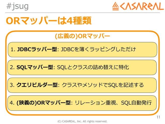 (C) CASAREAL, Inc. All rights reserved. #jsug ORマッパーは4種類 11 (広義の)ORマッパー 1. JDBCラッパー型: JDBCを薄くラッピングしただけ 2. SQLマッパー型: SQLとクラ...
