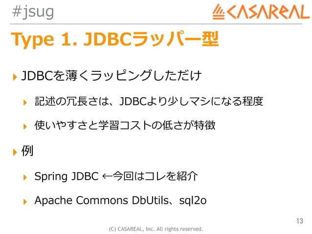 (C) CASAREAL, Inc. All rights reserved. #jsug Type 1. JDBCラッパー型 ▸ JDBCを薄くラッピングしただけ ▸ 記述の冗⻑さは、JDBCより少しマシになる程度 ▸ 使いやすさと学習コスト...