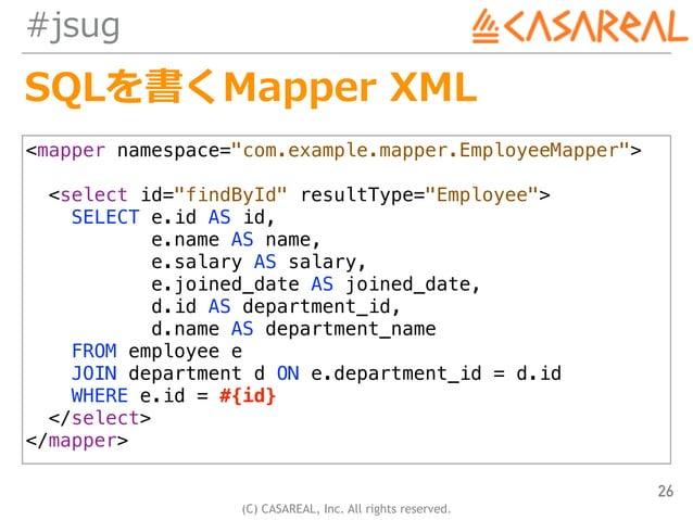 "(C) CASAREAL, Inc. All rights reserved. #jsug SQLを書くMapper XML 26 <mapper namespace=""com.example.mapper.EmployeeMapper""> <..."