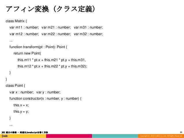 アフィン変換 (クラス定義) class Matrix {  var m11 : number; var m21 : number; var m31 : number; var m12 : number; var m22 : number; v...