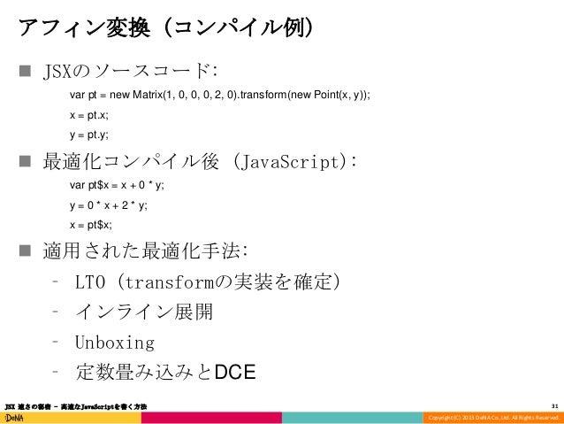 アフィン変換 (コンパイル例)  JSXのソースコード: var pt = new Matrix(1, 0, 0, 0, 2, 0).transform(new Point(x, y)); x = pt.x; y = pt.y;   最適化...