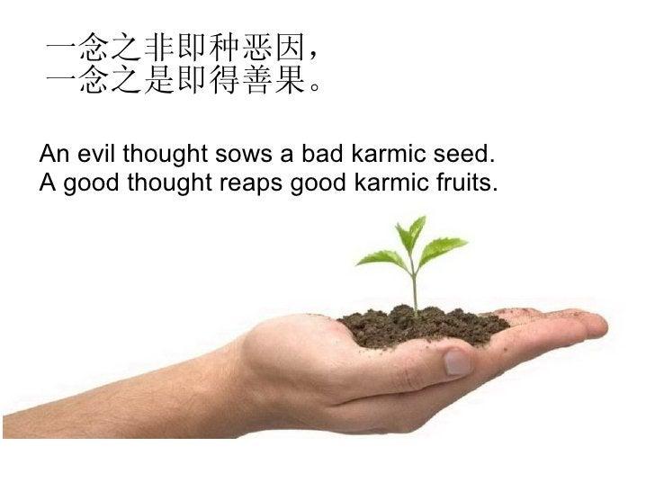 一念之非即种恶因,一念之是即得善果。 An evil thought sows a bad karmic seed. A good thought reaps good karmic fruits.