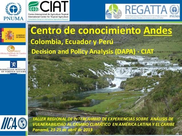 Centro de conocimiento AndesColombia, Ecuador y PerúDecision and Policy Analysis (DAPA) - CIATTALLER REGIONAL DE INTERCAMB...