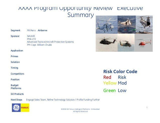 1 ©2008 GE Fanuc Intelligent Platforms - Embedded All Rights Reserved XXXX Program Opportunity Review Executive Summary Se...